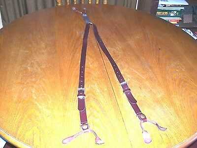 WahMaker Leather Suspenders w/ Buckles Y-Back for SASS Cowboy Pants EUC