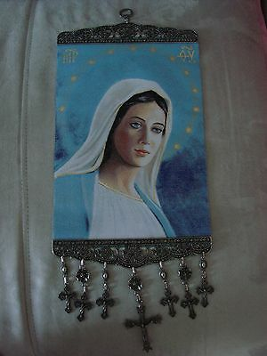 10'' Woven Wall Hanging Tapestry Mary Madonna Icon Crucifix Cross