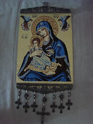 10'' Woven Wall Hanging Tapestry Madonna & Child Icon Crucifix Cross