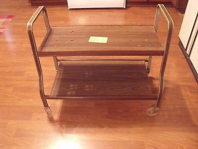Vtg Cosco? Eames Era Retro Zenith TV Stand Cart Stereo Gaming Faux Wood Finish