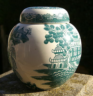 Carlton Ware green willow - oriental lidded ginger jar