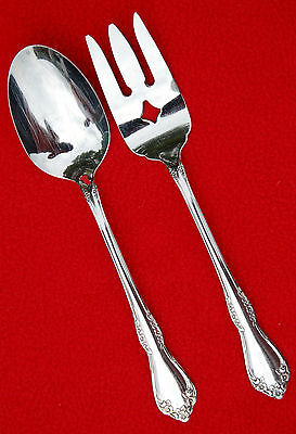 Wm A Rogers Deluxe Stainless ONEIDA Ltd~MANSFIELD~SERVING SPOON & COLD MEAT FORK