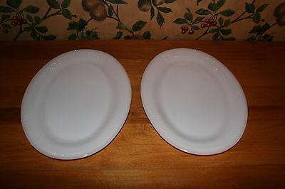 VINTAGE FEDERAL MILK GLASS-WHITE CAMILLIA- OVAL PLATTERS-SET OF 2-12 X 9 INCHES