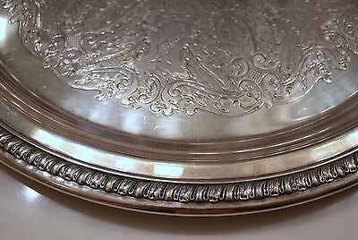 """TRAY """"WALLACE MELFORD"""" MARKED  SILVERPLATED ROUND VINTAGE"""