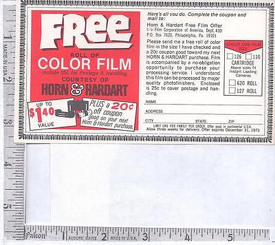 Unused 1973 coupon for free color film courtesy of HORN & HARDART  Restaurants