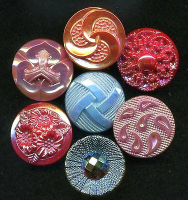 "Lot of 7 Assorted Vintage AURORA Glass Buttons...7/8""....Pretty!"