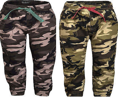 Kids Boys/Girls Camouflage Combat Long Trouser Pants Elasticated Waist,2,3,4,5YR
