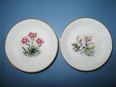 2 ROYAL WORCESTER Alpine Flowers Pin or Trinket Dishes
