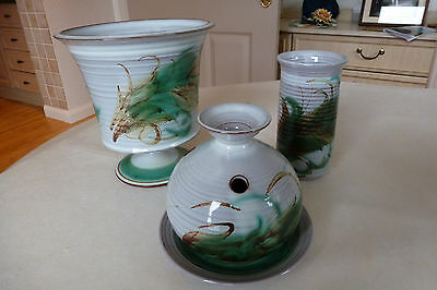 Skegness Pottery - Plant Pot Holder and 2 small Vases one with Saucer