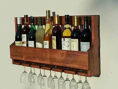Rustic 9 Bottle Wall Mount Wine Rack With 6 Glass Holder, Red Oak Stain