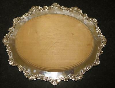 ORNATE SILVER PLATED AND BEECH WOOD  MAPPIN & WEBB BREAD BOARD / CHEESE BOARD
