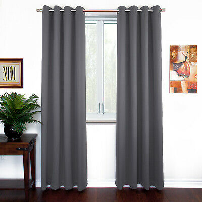 NEW Thermal Insulated BLACKOUT Curtains Set Grommet Panels Lenght 63 84 96