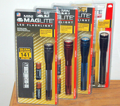 ONE NEW LED 2AA MINI MAGLITE FOUR MODE MULTI-SWITCH FLASHLIGHT TORCH + HOLSTER