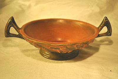 ROSEVILLE POTTERY BUSHBERRY LOW BOWL WITH HANDLES BULB FLOWER BROWN PLANTER