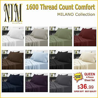 Luxurious 1600 TC Softness, Deep Pocket, 3 or 4 pc BED SHEET SET DUVET COVER SET