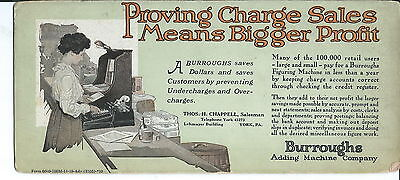 Burroughs Proving Charge, Harrisburg, PA, Advertising Ink Blotter 1930's-50's