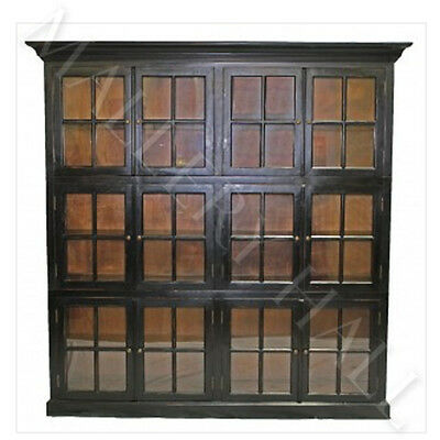 Oak Tudor 12 Door Glass Front Bookcase Antique Brass Hardware--Two Finishes