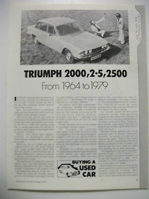 Triumph 2000 2.5 2500 1964 To 1979 Secondhand Car Buying Guide