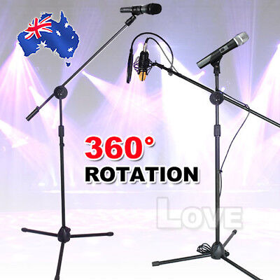 OZ 1 to 2 Two Clip Microphone Stand Telescopic Boom Adjustable Mic Holder Tripod