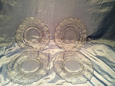 "Set of 4 Vintage Clear Cambridge Glass Rose Point 8""  Salad Plates"
