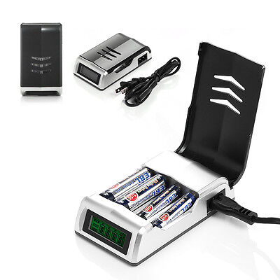 LCD Rapid Smart Battery Charger for AA AAA NiMH NiCD Rechargeable Battery 4 Slot