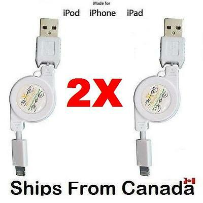 2x Retractable USB CABLE FOR iPhone 8 7 SE 5 5s 6 6s Plus iPad Mini Air Touch 5