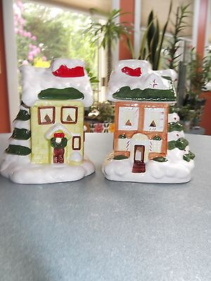 (2) CERAMIC CHRISTMAS VILLAGE HOUSE TEA LIGHT CANDLE HOLDERS DECORATIONS