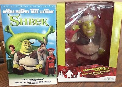 "2007 SHREK 10"" Figure by KURT ADLER + 2 SHREK Movies (DVD+VHS) All Still Sealed!"