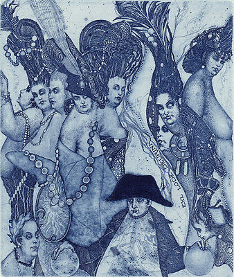 "Ex libris. ""NAPOLEON"" by K. Antioukhin. Erotic Signed Original etching Limited"