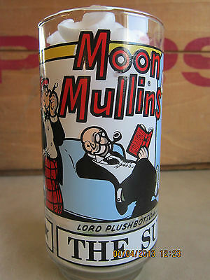 """COLLECTIBLE """"MOON MULLINS"""" 1976 NEW YORK NEWS INC.""""THE SUNDAY FUNNIES"""" GLASS"""