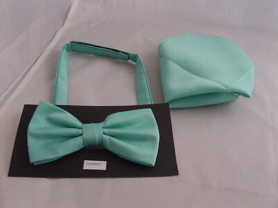 Matt Mint GREEN Mens Polyester Pre-tied Bow tie & Hanky Set>More UBuy>More USave