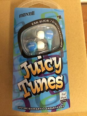Lot Of 6 Maxell Juicy Tunes Ear Buds Headphones Ipod/iphone Blue-New