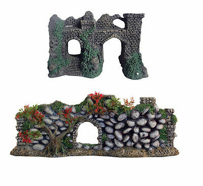 Castle Wall with Arches or Cobbled Stone Wall with Plants Aquarium Ornament