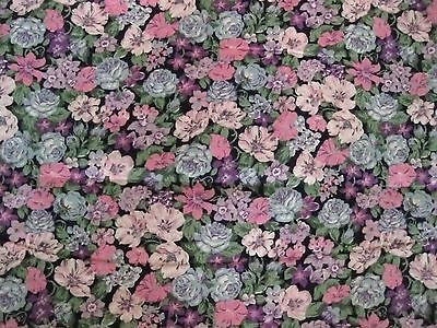 Vintage Cotton Fabric 1 & 2/3 Yards Floral Bouquet Print on Black by Peter Pan