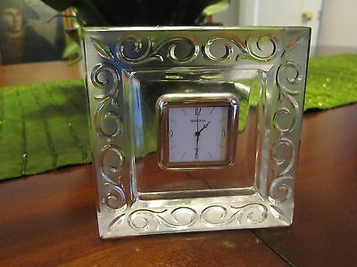 WATERFORD BY MARQUIS CRYSTAL DESK CLOCK ARABESQUE #116960 NEW IN BOX