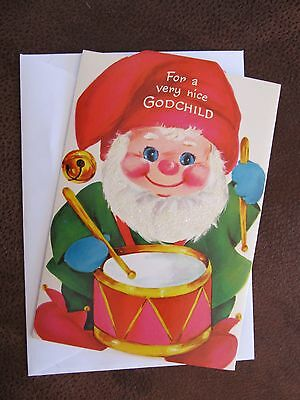 Vintage UNUSED Christmas Card Norcross Glitter Full Color Inside Elf Drummer Boy