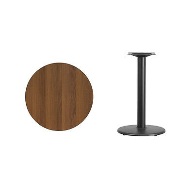 """24"""" Round Walnut Laminate Table Top With Base - Table Height Restaurant Table"""