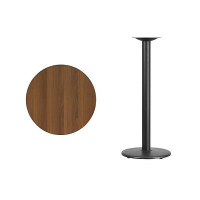 """24"""" Round Walnut Laminate Table Top With Base - Bar Height Restaurant Table"""