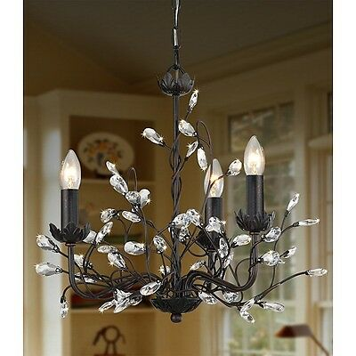 (B205) Iron and Crystal 3-light Chandelier