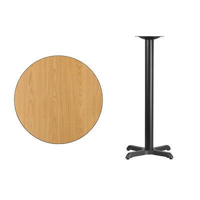 """30"""" Round Natural Laminate Table Top With Base - Bar Height Restaurant Table"""
