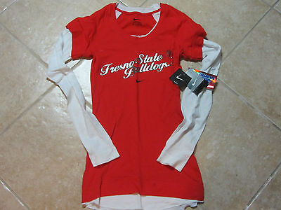 NIKE FRESNO STATE BULLDOGS WOMENS LAYERED LONG & SHORT SLEEVE TOP XS)  NEW W/TAG