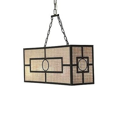 Wrought Iron Antique Black Finish Metroplitan Chandelier With Shade