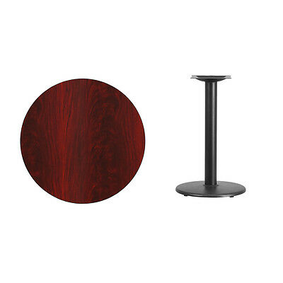 """30"""" Round Mahogany Laminate Table Top With Base - Table Height Restaurant Table"""