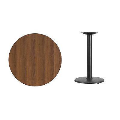 """30"""" Round Walnut Laminate Table Top With Base - Table Height Restaurant Table"""