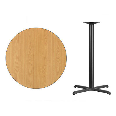 """36"""" Round Natural Laminate Table Top With Base - Bar Height Restaurant Table"""