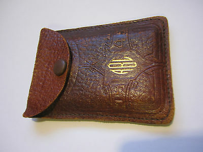 1945 Vintage Brown Leather Case Wallet Coin Purse 3x2 Snap Close Initials RLB