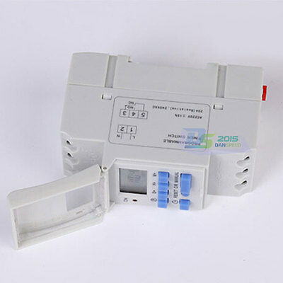 Programmable Digital Timer LCD Display Time Relay Switch AC Power 220V 20A White