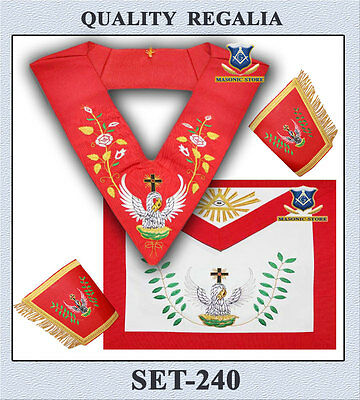 Masonic 18 Degree Rose Croix Set - Apron, Collar, Cuffs & a Jewel *** A.A.S.R.