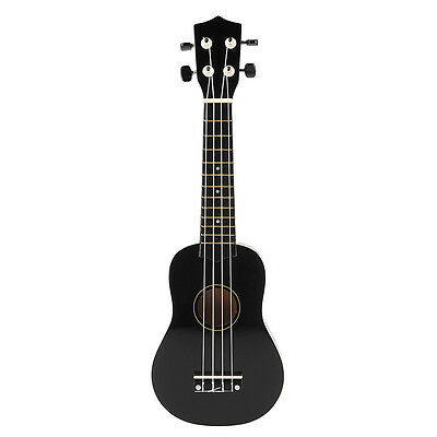 "21"" Soprano Hawaiian Guitar 12 Frets Ukulele Uke Exquisite Instrument Black"