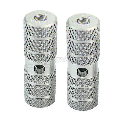 Pair BMX Bike Bicycle Cycling Silver Cylinder Axle Pedal Foot Stunt Pegs 9mm